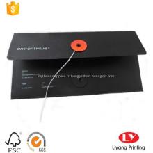 Enveloppe d'affaires A4 noire avec ficelle
