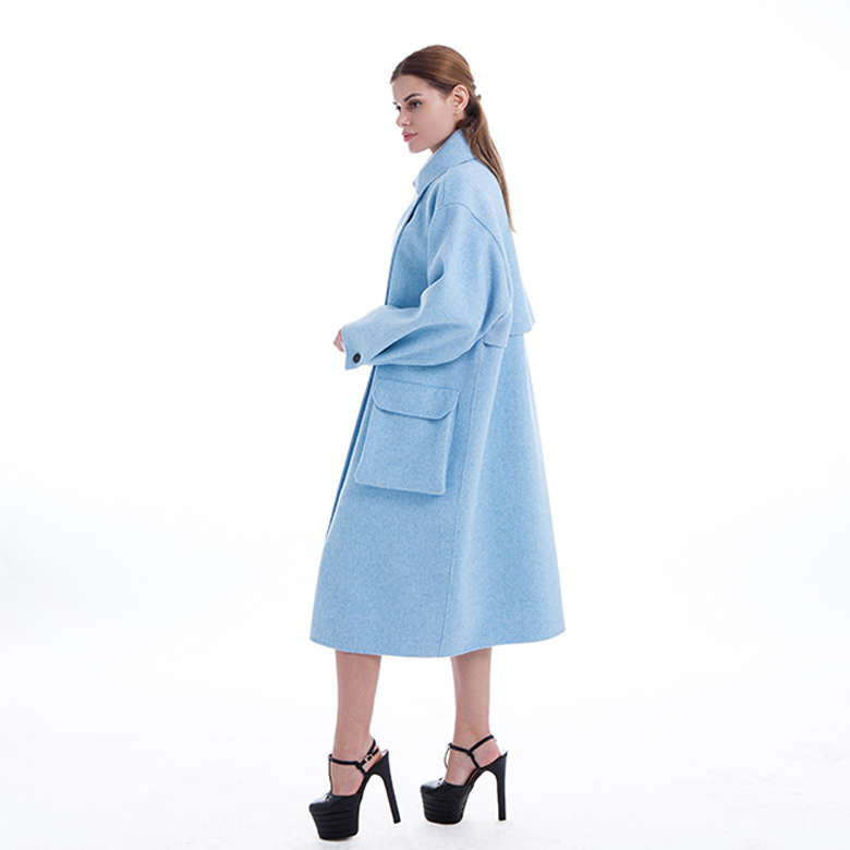 Lady Blue Classic Pure Cashmere Coat
