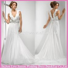 WD1216 оберните V-образным вырезом линии с высокое качество прозрачный вернуться белый шифон свадебное платье из бисера пояс Таиланд свадебные платья