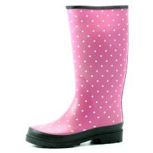 Темно Розовая база с белой точкой дождя сапоги для женщин