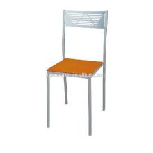 Cadeira de moldura de metal simples, cadeira de jantar com encosto de tubo de aço para o hotel