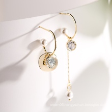 925 Silver Yellow round earrings for women party gift