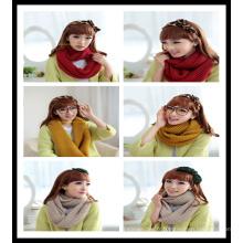 Nouvelle écharpe ronde en hiver 100% en acrylique à la main en jaune rouge
