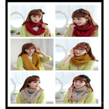Nova mulher 100% acrílico malha lenço redondo inverno sólido no leite amarelo vermelho