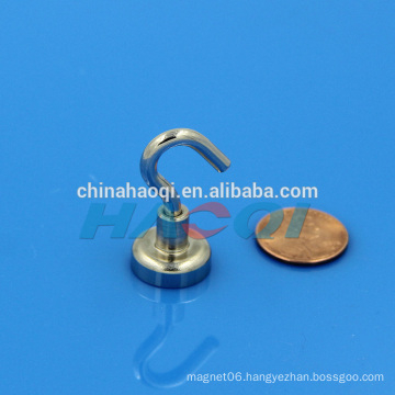 Neodymium pot magnet with hook