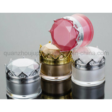 OEM Acrylic Double Layer Cream Cosmetic Jar with Crown Cap