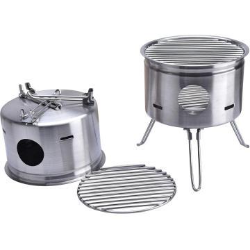 Estufa de leña plegable de acero inoxidable para acampar al aire libre