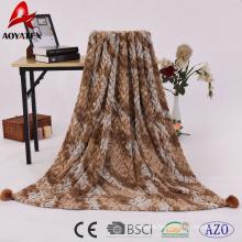 2018 new design super soft brushed and printed knitted fur pv fleece blanket