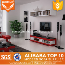 stand de télévision simple couleur rouge élégant stand de télévision moderne verre