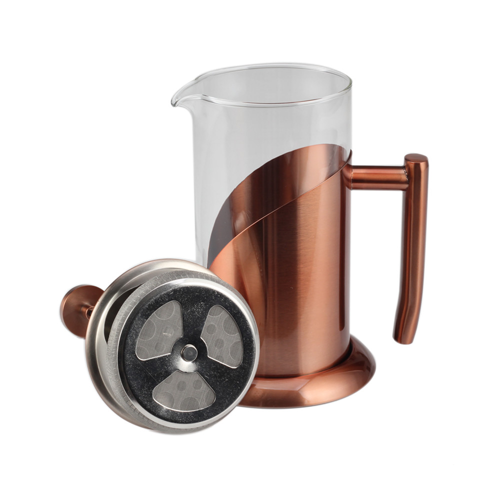 Professional Copper Frame Glass French Press With Best Filter