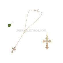 Handmade Long Chian Black Agated Beaded Rosary Cross Necklace