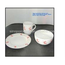 3pcs ceramic dinner set christmas design for BSD1211A