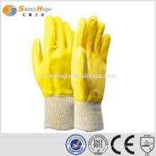 Strick Handgelenk gelb flache Gummi beschichtete Handschuhe