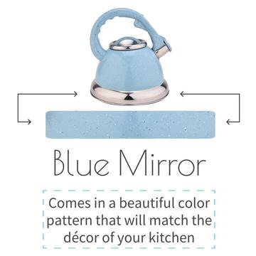 Sky Blue Mirror Whistling Stovetop Tetera