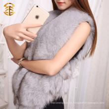 Mujeres de moda de las señoras de la piel de la capa del chaleco de Gilet del chaleco genuino de la piel del Fox del 100%