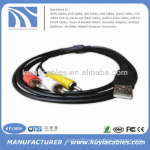 New 5ft 1.5M USB A Male to 3 RCA 3RCA Video Audio Data AV TV Adapter Cord Cable