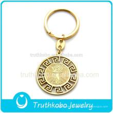 Plata de alta calidad PVD chapado en oro Jesús y patrón de medallas llaveros con material de acero inoxidable 316L fábrica de alibaba