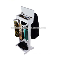Floorstand Painted White Functional 8 Pockets 2-Way Hanging Commercial Scarf And Tie Display Wood