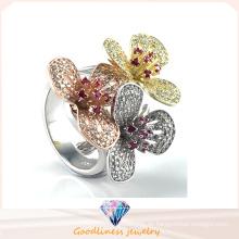 Eleganter Blumen-Ring für Dame-Geschenk-Art- und Weiseschmucksache-heißer Verkaufs-Silber-Schmucksache-Ring R10502