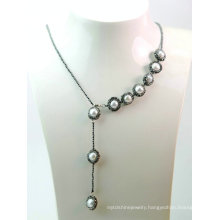 Fashion Jewelry Hematite Baroque Pearl Necklace for Lady Evening Party