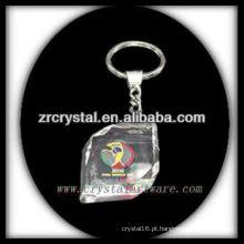 Chaveiro de cristal LED com imagem 3D gravado a laser dentro e em branco chaveiro de cristal G024
