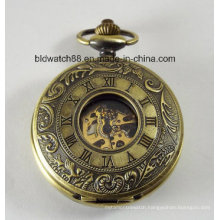 Engraved Bronze Personalized Mechanical Pocket Watch Double Dust Cover