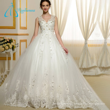 Crystal Sequined Beading Pearls Design Fashion Contemporary Wedding Dresses
