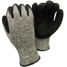 NMSAFETY anti cut level 8 7 gauge anti cut liner coated sandy nitrile on plam work gloves