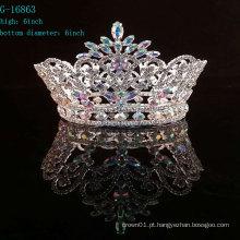 Atacado AB rhinestone full round redação coroas e tiara
