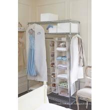 Wardrobe portátil do quarto do metal com tampa da tela dos pano de Oxford