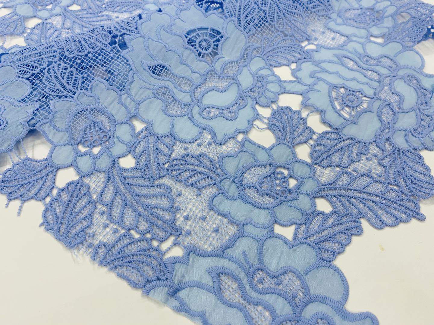Unique Satin Chemical Lace Embroidery Fabric
