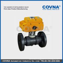 PVC flange electric valve with 12v 24v 220v 380v electric actuator