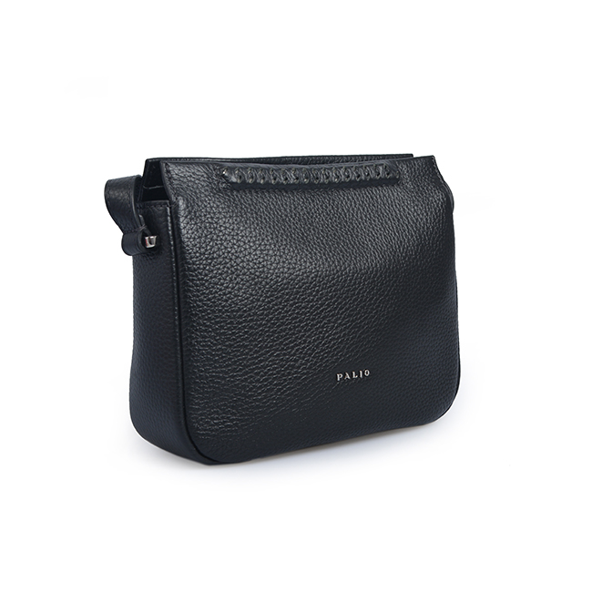 Black Color Simple Full Grain Soft Leather Crossbody Bag