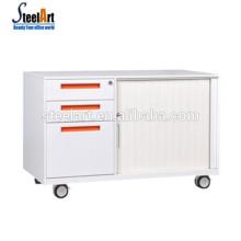 Мобильный металлический шкаф для хранения с ящиками и шкафчиками