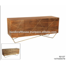 Industrial Brass Inlay with Mango Wood and Metal Legs Sideboard