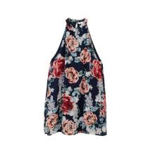 Vestido feminino com decote redondo floral verão casual