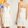 Cinta de espaguete de renda branca de algodão mini vestido de verão manufatura grosso moda feminina vestuário (t0293d)