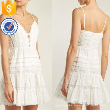White Cotton Lace Spaghetti Strap Mini Summer Dress Manufacture Wholesale Fashion Women Apparel (TA0293D)