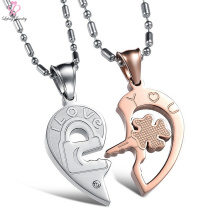 2018 Großhandel Frauen Rose Gold Schmuck Halskette Set, Herz Paar Clover Kette Anhänger Edelstahl Halskette