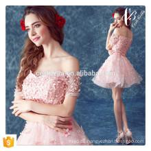 2016 Rosa Frauen kleidet Ballonart reizvolles Kleidfrauen-Ballkleidart und weise rosafarbenes Streifen-Parteikleid
