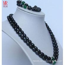 2strands Mode Schwarz Natur Perle Halskette Set (ES1318)