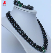 2strands Fashion Black Nature Necklace Conjunto de pérolas (ES1318)