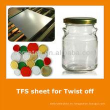 JIS3315 estándar estaño libre hoja de acero para tapa de tarro de cristal