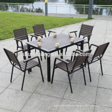 Best price plastic wood outdoor patio aluminum furniture dining set wood chair and table