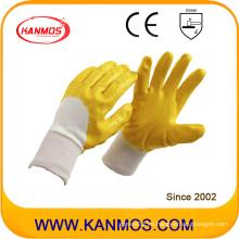 Antideslizante amarillo de seguridad industrial Nitrile Jersey trabajo guantes (53006)