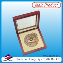Qualität Antike Kupfer Andenken Geschenk Medaille mit Holz Fall