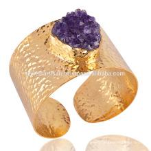 Amethyst Druzy Fashion Cuff Bracelet Gold Plated Cuff