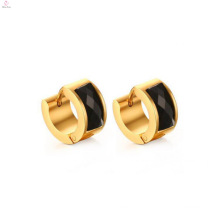 Personalized Stainless Steel Plated Gold Black Diamond Earring