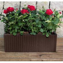 (BC-F1036) Plastic Rattan New Design Square Self-Watering Flower Pot