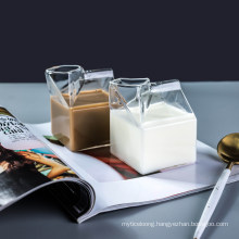 Creamer Glass Milk Coffee Container Creative Clear Transparent Cup Box Shape Drink Water Juice Mugs